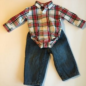 Gymboree Fleece Lined Jeans Plaid Onesie 12-18M